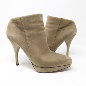 Via Spiga Tan Suede Stiletto Heel Ankle Booties
